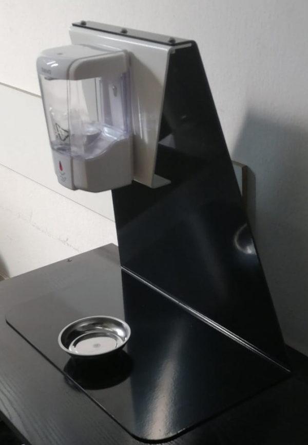 Supporto dispenser automatico da banco con salvagocce